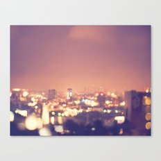 Everyone's a Star. Los Angeles skyline at night photograph. Canvas Print