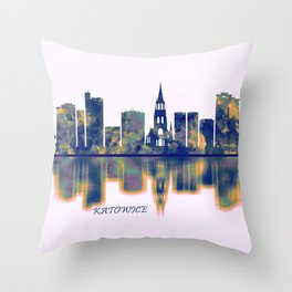Katowice Skyline Throw Pillow
