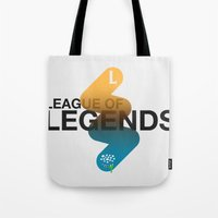 league of legends Tote Bags featuring League of Legends by Thomas Official