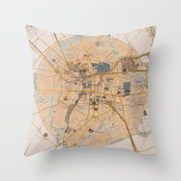 Vintage Map of Spartanburg SC (1922) Throw Pillow