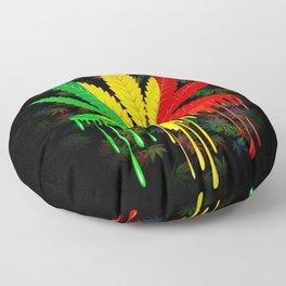 Marijuana Leaf Rasta Colors Dripping Paint Floor Pillow