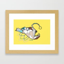 Geometric bad fish Framed Art Print
