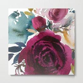 Merlot Floral Metal Print
