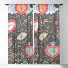 Milagro Love Hearts - Black Sheer Curtain