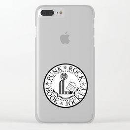 Punk Rock Book Jockey White Logo Clear iPhone Case