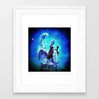 nebula Framed Art Prints featuring Blue Pillars of Creation nEBULA  by 2sweet4words Designs