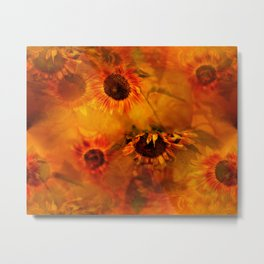 Autumn Playful Sunflowers Metal Print