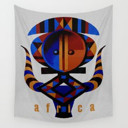 Vintage African Tribal Art Travel Poster Wall Tapestry