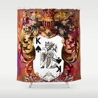 poker Shower Curtains featuring Poker King Spades colored by jbjart