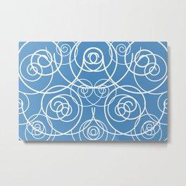 Spirals white turquoise Metal Print