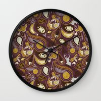potter Wall Clocks featuring Potter Paisley by Kate Moore