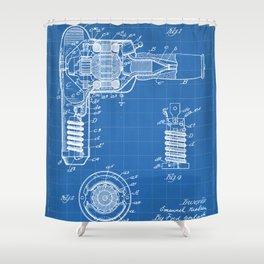 Hair Drier Patent - Salon Art - Blueprint Shower Curtain