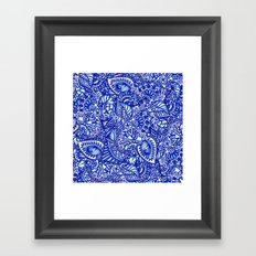 Modern blue handdrawn watercolor floral mandala Framed Art Print
