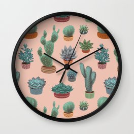 Potted Cacti and Succulents on Sahara Rose background. Wall Clock