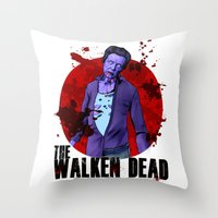christopher walken Throw Pillows featuring The Walken Dead – The Walking Dead Parody – Christopher Walken Zombie by ptelling