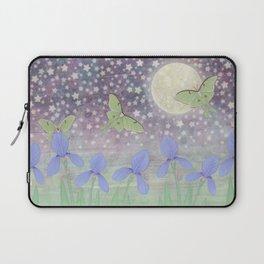 luna moths around the moon with starlit irises Laptop Sleeve