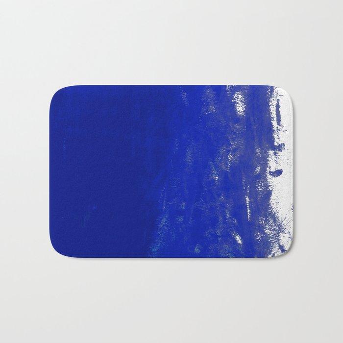 Water waves ocean sea bright blue modern painting minimal monochromatic urban dorm college art Bath Mat