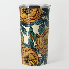 Golden Yellow Roses - A Vintage-Inspired Floral/Botanical Pattern Travel Mug