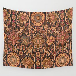 Floral Medallion I // 18th Century Colorful Blue Lime Green Pink Sapphire Plum Burlap Brown Pattern Wall Tapestry