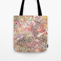 mexico Tote Bags featuring Mexico by MapMapMaps.Watercolors