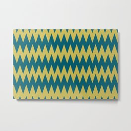 Dark Yellow and Tropical Dark Teal Inspired by Sherwin Williams 2020 Trending Color Oceanside SW6496 Zigzag Pointed Rippled Horizontal Line Pattern Metal Print