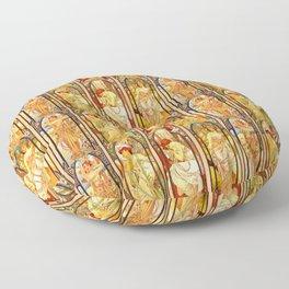 "Alphonse Mucha ""Times of day"" Floor Pillow"
