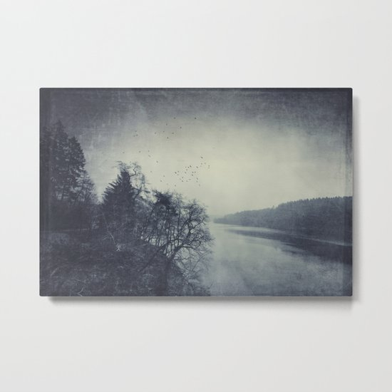 a murder of crows over a cold lake Metal Print