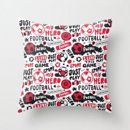 Art Football. Pattern Red Throw Pillow