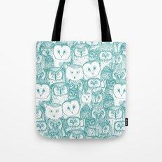 just owls teal blue Tote Bag