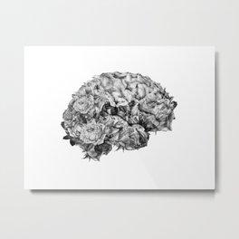 flower brain black and white Metal Print