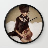 justin timberlake Wall Clocks featuring With Great Power by Ruben Ireland