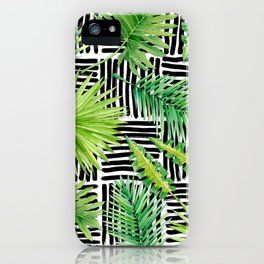 Tropical Leaves Watercolor on Black and White Pattern iPhone Case