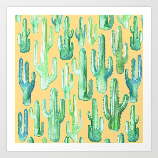 cactus yellow Art Print