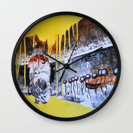 Mixed Media Art Yellow Rain Wall Clock