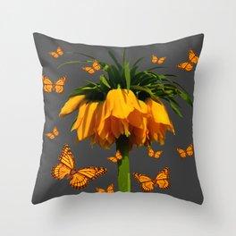 GREY ART  YELLOW MONARCH BUTTERFLIES YELLOW CROWN IMPE Throw Pillow