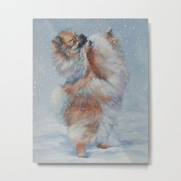 Pomeranian dog art from an original painting by L.A.Shepard Metal Print