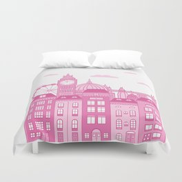 London Skyline Pink Duvet Cover