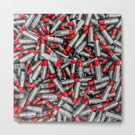 Lipstick chrome / 3D render of red chrome lipsticks Metal Print