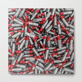 Lipstick chrome / 3D render of red chrome lipsticks Metal Print