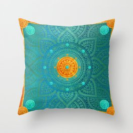 """Turquoise and Gold Mandala"" Throw Pillow"