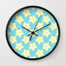 Star Flower Pattern Teal and Yellow Wall Clock