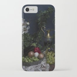 Classic  still life with flowers, fruit, vegetables and wine iPhone Case