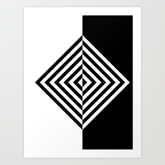 Black and White Concentric Diamonds Art Print