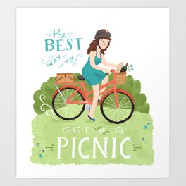 Bike to a Picnic Art Print
