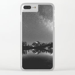 Summer Stars Black and White - Galaxy Mountain Reflection Clear iPhone Case