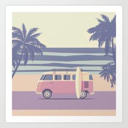 Surfer Graphic Beach Palm-Tree Camper-Van II Art Print