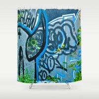 street art Shower Curtains featuring Street Art by Magic Mirage