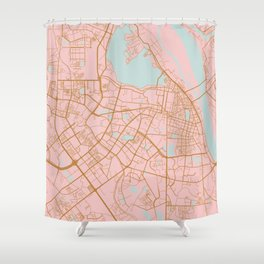 Pink and gold Hanoi map, Vietnam Shower Curtain