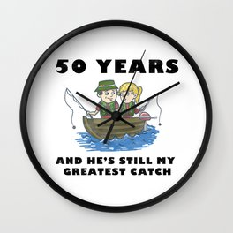 Anniversary 50 Couple Fishing Wife Husband Gift Wall Clock