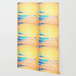 Orange Pantone Ocean Blue Lines Wallpaper